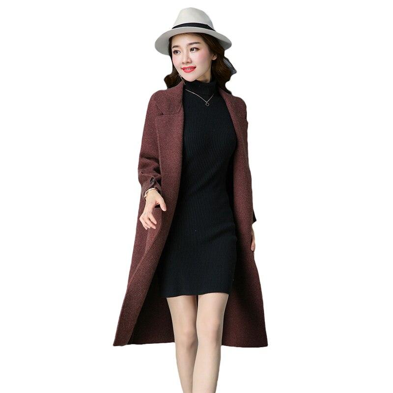 2017 New Thicken Sweater Women Fashion Knit Cardigan Spring Autumn Korean Long Large Size Sweater Coat