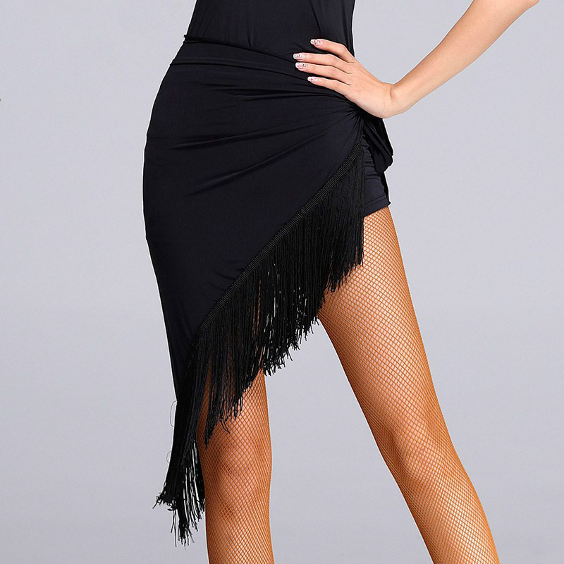 New Lady Fringed Triangle Latin Dress Sexy One Skirt Adult Skirt Latin Dance Dress Costume Women's Black Practice Skirt(China)
