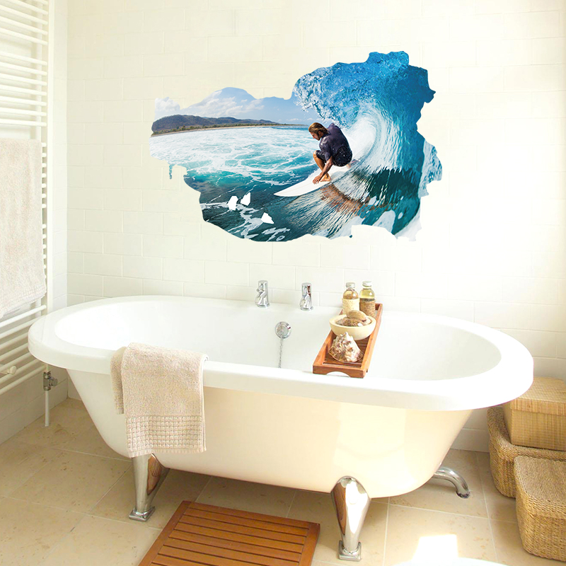Surfing Waterproof Vinyl Removable Stickers Self Adhesive For Bedroom Bathroom Window Living Room Decor Art Mural
