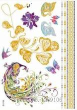 21x15cm Hot Golden Flash Tattoos Fashion Sexy Colorful Peacock Flowers And Butterflies Gold Temporary Tattoos
