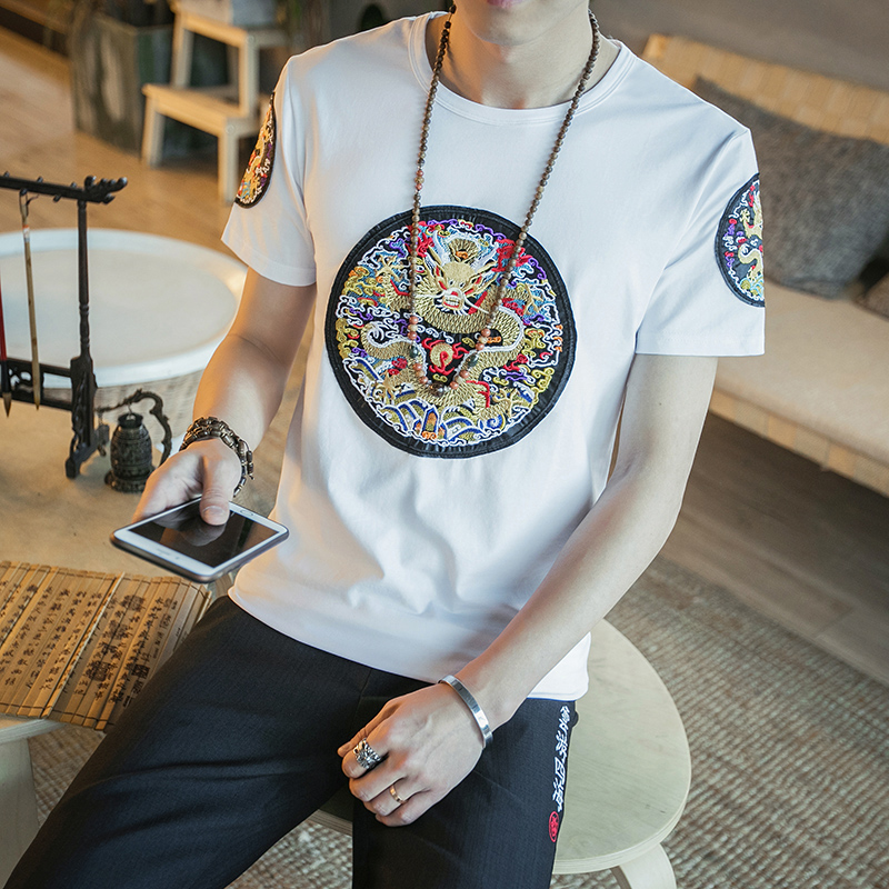 Chinese Style Summer T Shirt Men Fashion Dragon Embroidery Slim Fit Men T-Shirts Short S ...