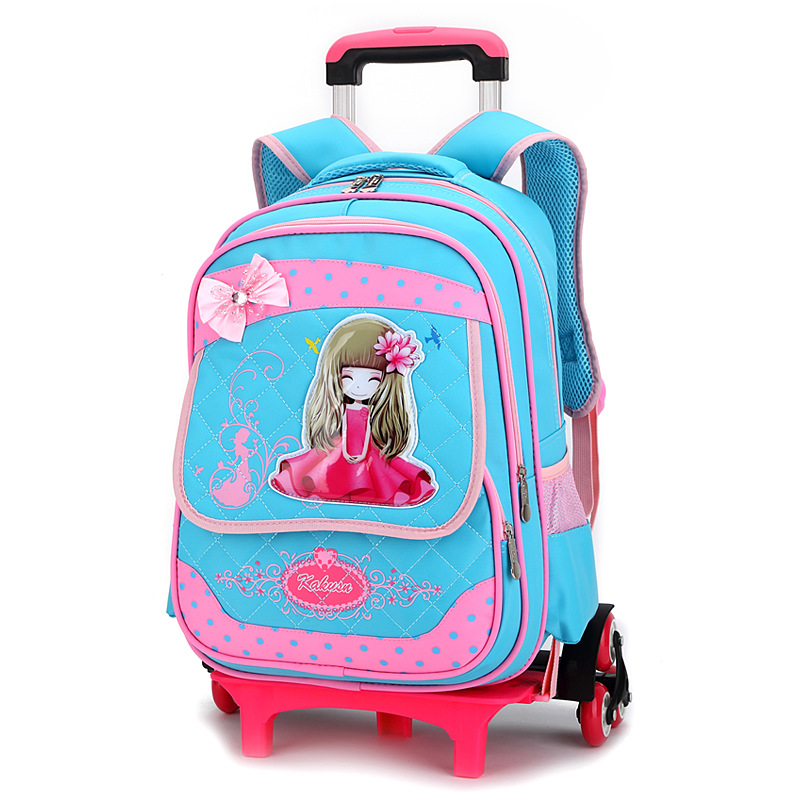 2018 Children School Bags with 3 Wheels Removable Kids Child Climb Stair Trolley School Bag Girls Rolling Backpack kids Bookbag children trolley school bags removable backpack waterproof travel luggage bag with 6 wheels rolling for girls can climb stairs