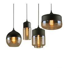 цена на Vintage Retro Pendant Light Hanging Amber Glass Antique Loft Indoor Pendant Lamp Edison Decorative Drop Light Restaurant Pendant