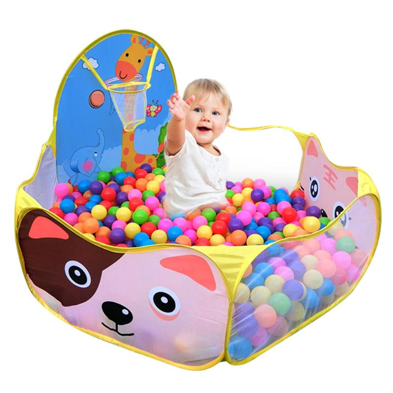 Manege para el bebé niños niñas océano bolas piscina de arena de juego tienda con un aro de baloncesto parque infantil al aire libre