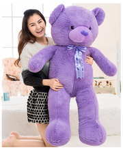 large 140cm lovely teddy bear plush toy silk belt purple bear doll soft throw pillow,Valentine's Day gift c619