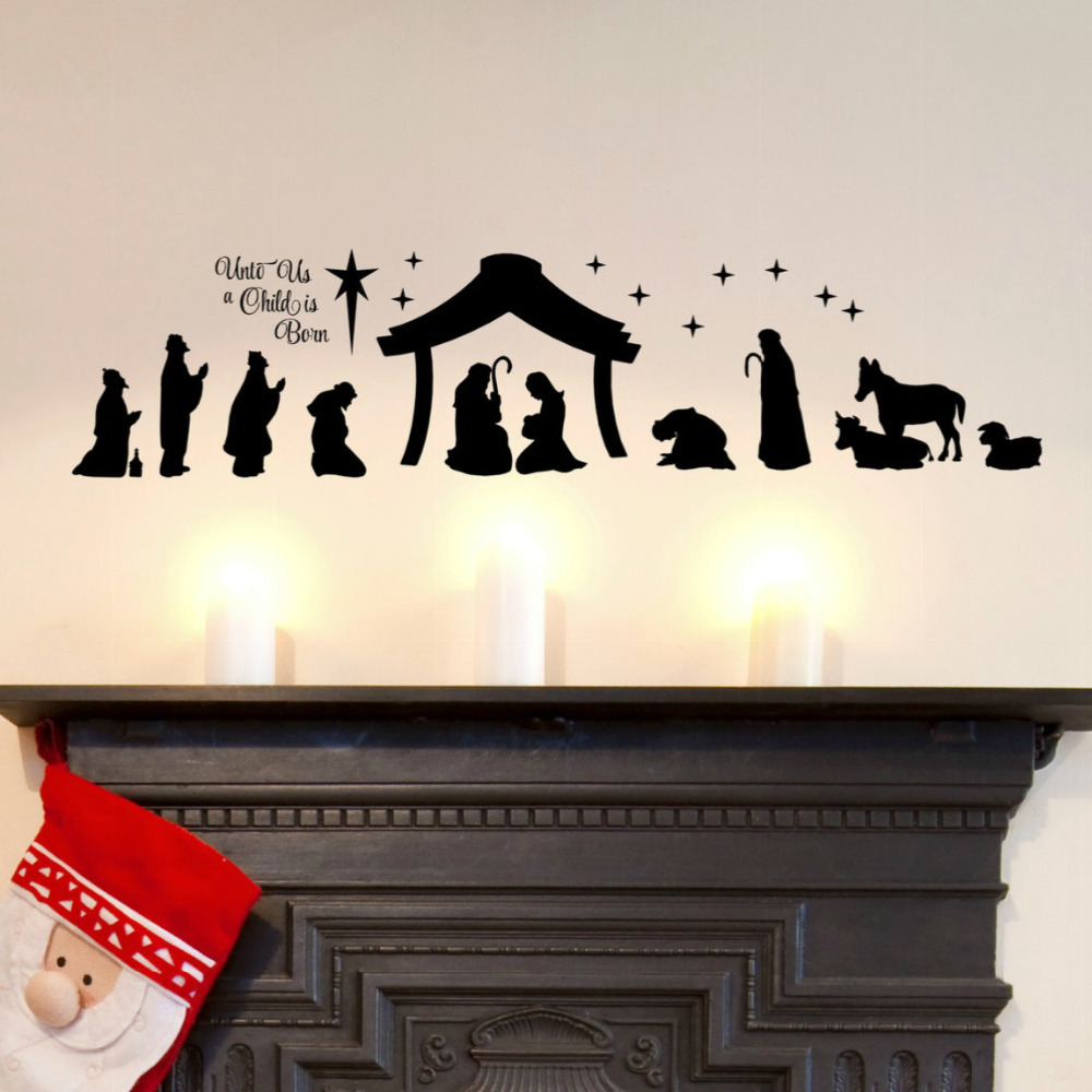 Large christmas nativity scene wall stickers unto us a child is large christmas nativity scene wall stickers unto us a child is born nativity vinyl wall decal christian decor mural a296 in underwear from mother kids on amipublicfo Choice Image