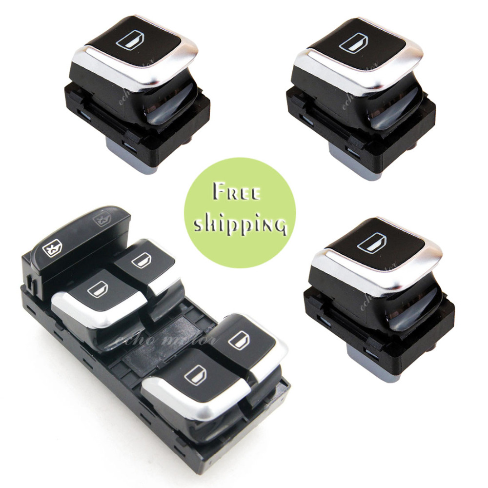 New 1PCS Chrome Master Switch 3PCS Window Button For A5 A4 Allroad Quattro B8 Q5 8KD959851A 8KD 959 855A 4GD959855 8KD 959 855