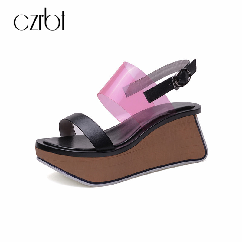 CZRBT Summer Women Gladiator Sandals Platform Wedge Shoes Woman Mixed Colors Beach Sandalias Creepers Wedges Ladies Sandals minika women sandals summer shoes breathable lace flats platform wedges lose weight creepers summer sandals cd41