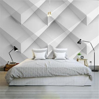 Modern White Luxury Wallpapers For Walls 3D Geometric Patterns Non Woven Wall Papers For Bedroom Living