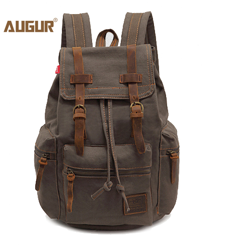 1f61d45f4386 Army Green Vintage Canvas Leather Backpack Travel Shoulder Bag Men Women  School Bag Daypack Backpack Rucksack Free shipping