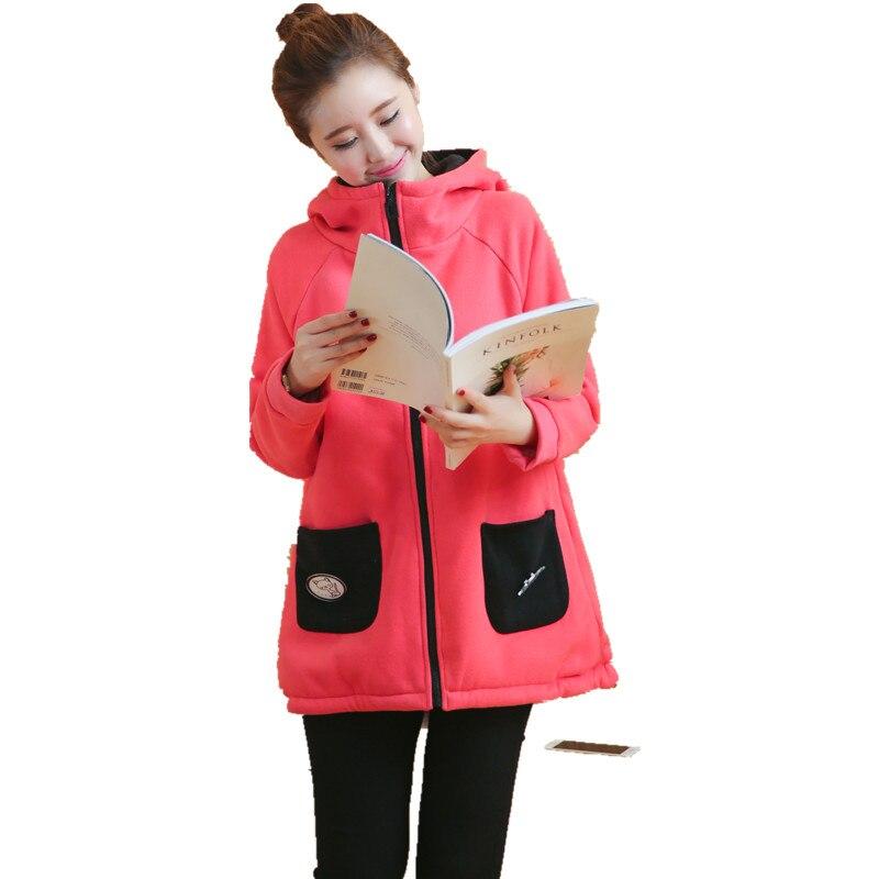 Plus Velvet Sports Hoodie Winter Maternity Jacket Outwear Sweatshirts Clothes for Pregnant Warm Cotton Coat Gravida Jacket C352 недорго, оригинальная цена