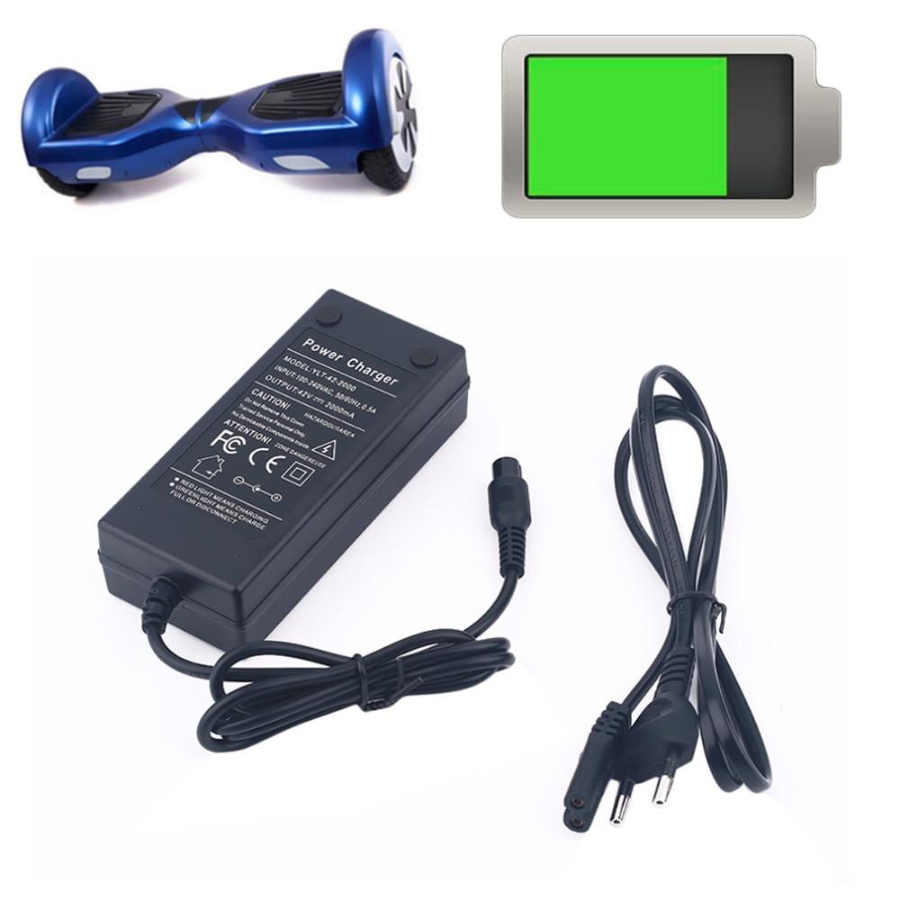 Prix pour 42 V 2A Électrique Smart Drive Balancier Auto Équilibrage Scooter Hover Bord Puissance Batterie Chargeur UE Plug Gros