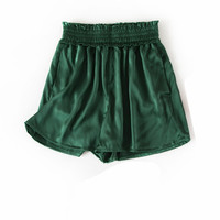 Women Summer Silk Shorts Pocket Shorts Summer Elastic Waist Satin Shorts for women dark green Trousers Natural silk Shorts