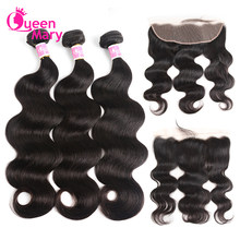 Brazilian Body Wave Bundles With Frontal Closure QueenMary Lace Frontal With Bundles NonRemy 3 Bundles with Lace Frontal Closure(China)