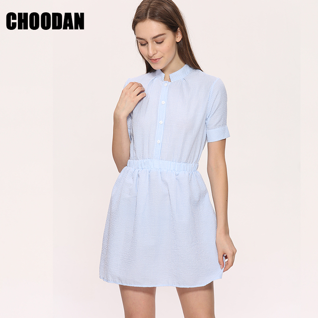 09af82eba691 Shirt Dress Women Summer Dress 2018 Fashion Korean Female Short Sleeve  White And Blue Striped Linen Casual Dresses For Ladies