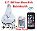 Sem Fio Do Telefone inteligente 12 W E27 Lâmpada Lâmpada LED Bluetooth Speaker Música Jogando Iluminação RGB com Controle Remoto livre grátis
