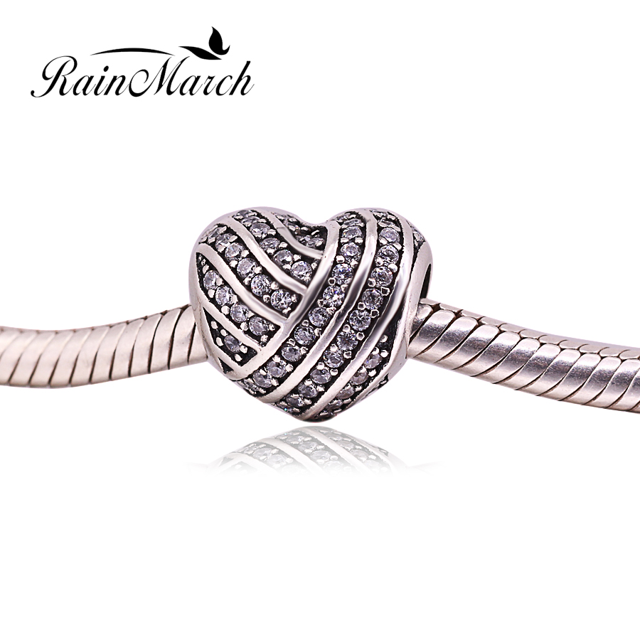 Fit Pandora Charms bracelets Original 925 sterling silver Heart stripe Beads with White Cubic Zirconia Women DIY Jewelry