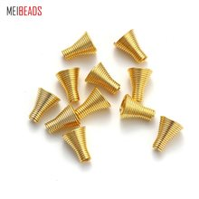 MEIBEADS 50pcs/lot 8*10mm Gold Spring Beads Caps Metal Tube Caps DIY Jewelry Accessories Findings UF2035(China)