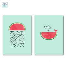 SPLSPL Nordic Cartoon Watermelon Canvas Art Print Painting Wall Art Pictures for Home Decoration Without Frame home ornaments(China)