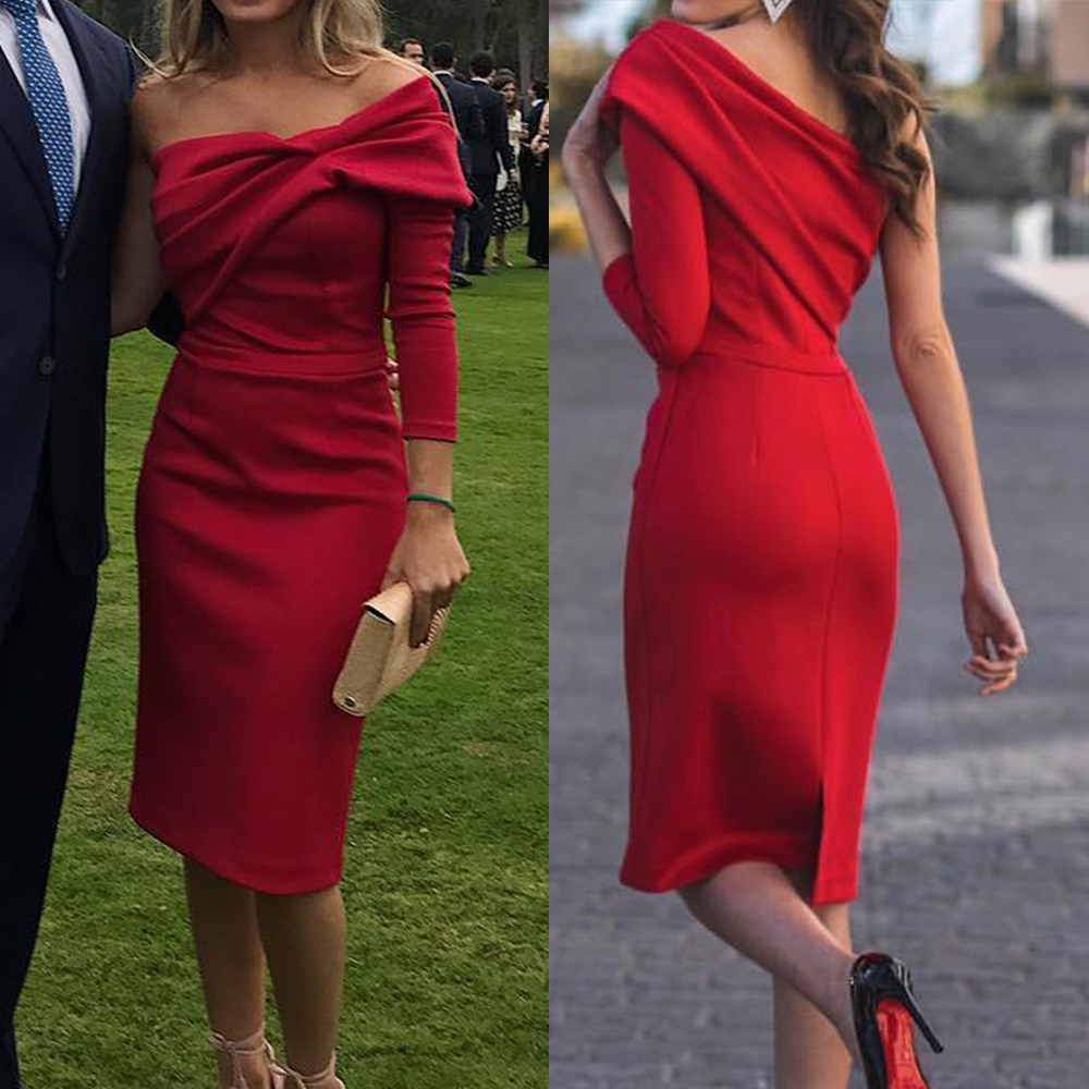 Red Knee Length   Prom     Dress   One Shoulder Long Sleeves Slit Womens Formal Cocktail Gowns Simple Short Girls Homecoming   Dresses