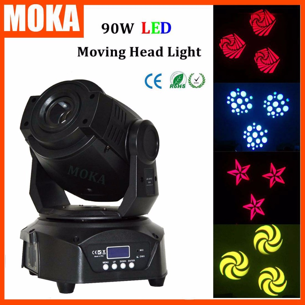 MOKA 2016 Round-Base 90W Led Spot Moving Head Dj Disco Bar Light DMX512 Auto Control Light Projector niugul dmx stage light mini 10w led spot moving head light led patterns lamp dj disco lighting 10w led gobo lights chandelier