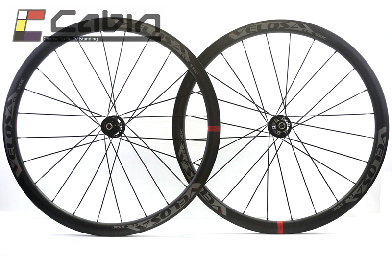 цена на Velosa Disc 30 road disc brake wheelset. 38mm clincher/tubular,700C road bike carbon wheel, disc brake/ cyclocross wheel
