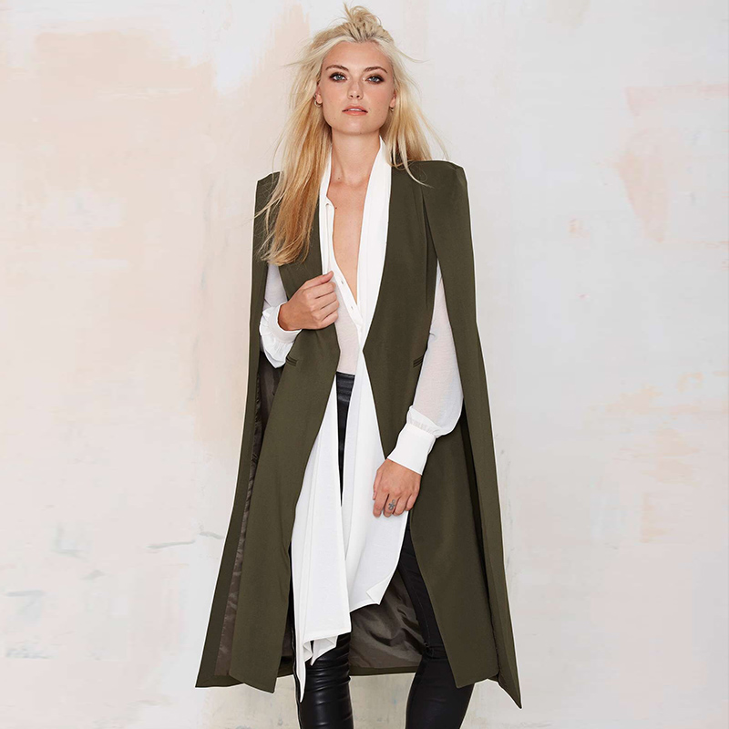 2019 Spring Autumn Winter New Fashion Coat Women Casual Green Black Elegant Office Cape Long Sleeve