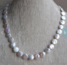 Wholesale Pearl Necklace, Coin 18 Inches 11-12mm White Color Freshwater Pearl Necklace, Wedding Bridesmaids Jewelry.