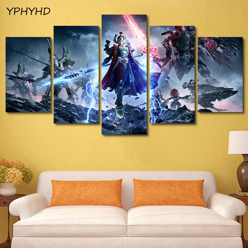 YPHYHD 5 Pieces HD Modern Canvas Painting Wall Art Game Poster Dawn of War 3 Prints For Home Decoration Living Room Pictures Art