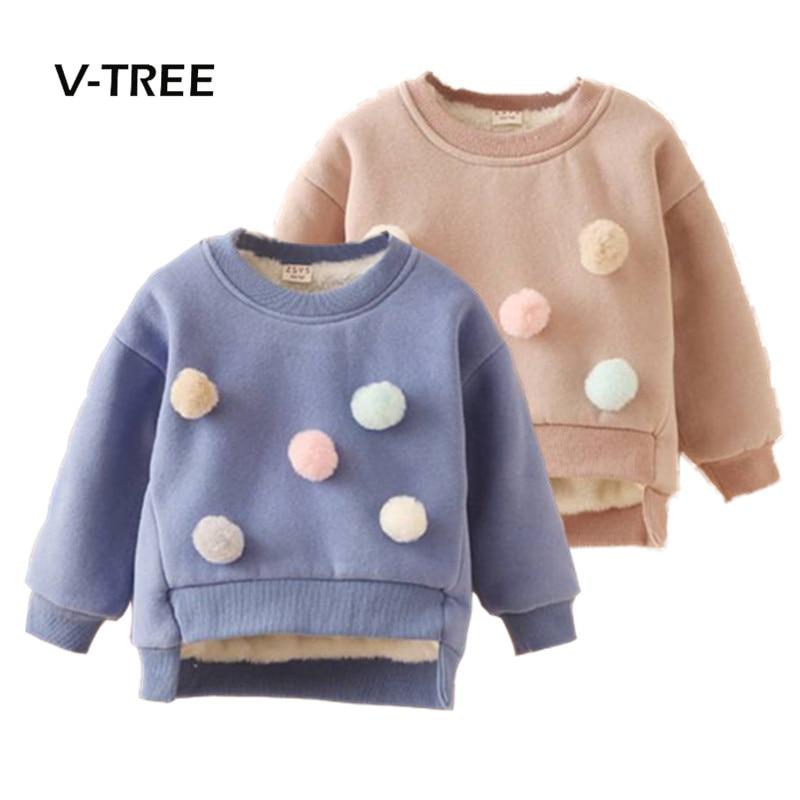 V-TREE Winter Baby Girls T Shirt Plus Fleece Warm Girls Sweatshirt Thicken T Shirt For Girl Kids Baby Brand Clothes 2-7 Years