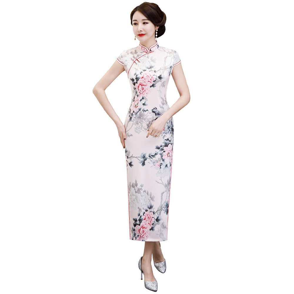 050bc415c38 Detail Feedback Questions about Shanghai Story Top Quality Faux Silk Short  sleeve Long Cheongsam Floral Qipao chinese dress Oriental Dress for women  on ...