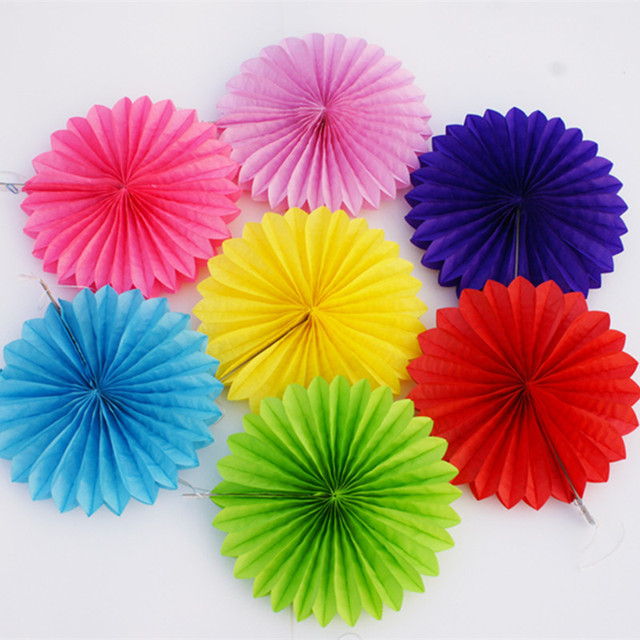Decorative Crafts 30CM 1PCS Flower Origami Paper Fan Wedding Decoration Home Decorations Birthday Party Kids