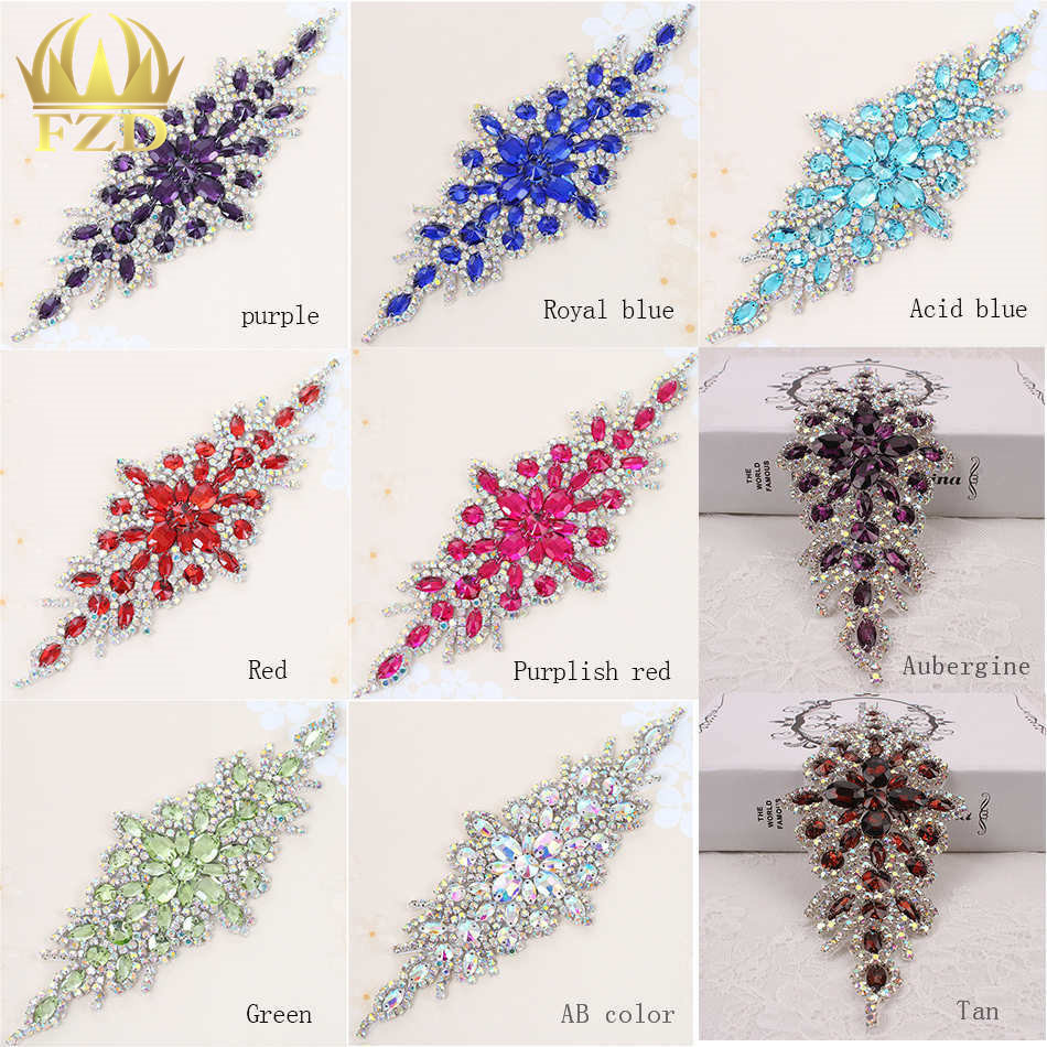 30pieces Wholesale Hotfix AB Crystals Rain Bow Color Rhinestone Sequin Applique for Garment Dresses Headband