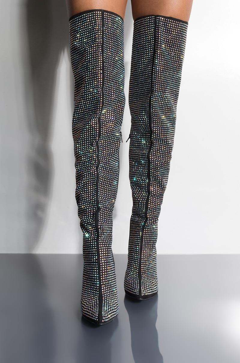 Cuisse Genou Strass Talons Le Glitter Bottes Stiletto Hauts Printemps Femmes Sur 2019 Longues 40 Talon Haute De À Chaussures aBa7x