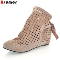 2016 New Summer Boots For Women Flat Heel Spring Ankle Boots Round Toe Cut Outs Comfortable