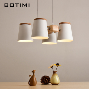 Image 2 - Регулируемые подвесные светильники BOTIMI E27, Деревянный светильник для столовой, современный белый шнур, подвесной светильник с металлическими лампами