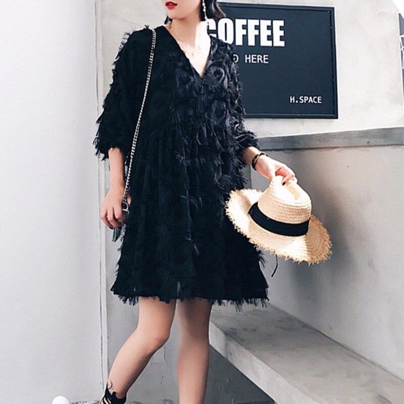 TWOTWINSTYLE Tassel Dress For Women V Neck Lantern Sleeve High Waist Oversize Mini Dresses 2019 Summer Fashion Sweet Clothing-in Dresses from Women's Clothing    2