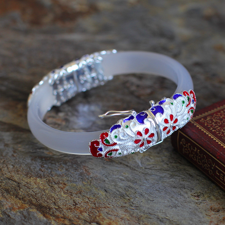 The character of silver Cloisonne jade wholesale S925 pulp lady exquisite bracelet the character of silver s925 silver jewelry fashion exquisite lady earrings blue sandstone section