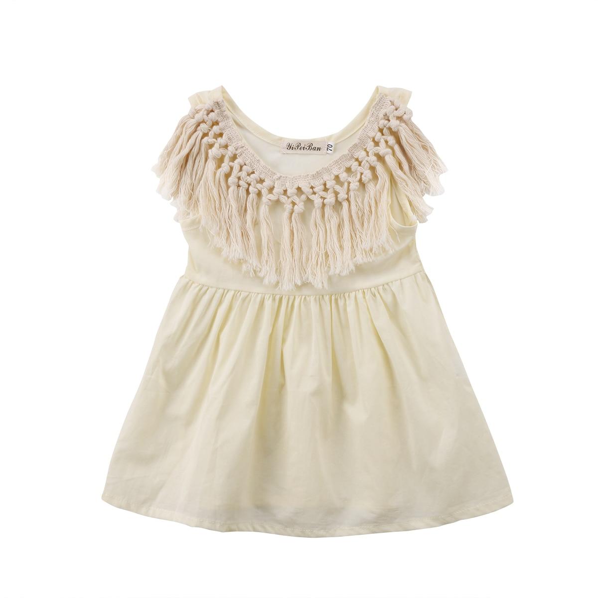 2018 Cute Fashion Newborn Toddler Kids Baby Girl Tassel Collar Summer Dress Sundress 0-24M