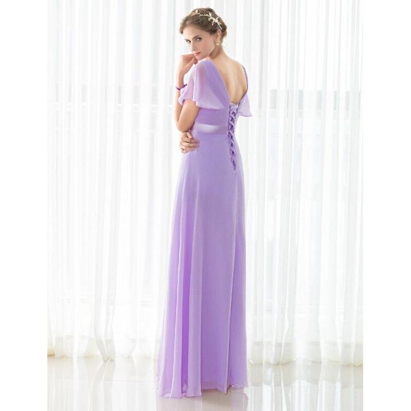 SHAMAI pas cher étage longueur Cap manches robes de demoiselle d'honneur robe de soirée de mariage en mousseline de soie violet clair nouvelle robe de demoiselle d'honneur - 3