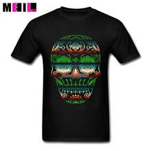 Custom Made Day of the Dead Deco Skull Big Size T-shirts Mens Sugar Skull Short Sleeve t shirt