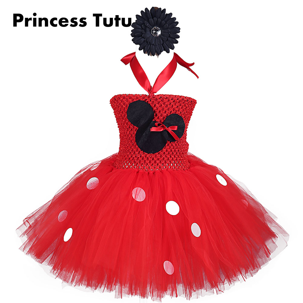 Red Black Hot Pink Little Mouse Girl White Lady Bug Tutu Dress Knee Length Bow-knot Ribbon Birthday Dresses with Cartoon Pattern