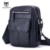 Bullcaptain Genuine Leather Bag Men Messenger Bags Cell Phone Pocket Travel Shoulder Crossbody Bags Business Male