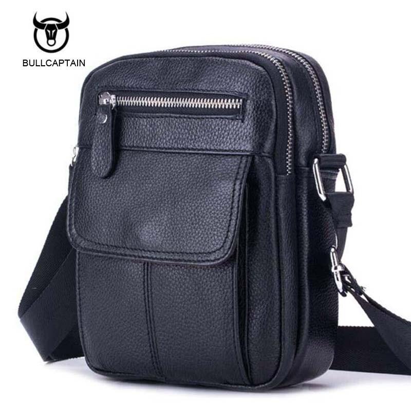 Bullcaptain Genuine Leather Bag Men Messenger Bags Cell Phone Pocket Travel Shoulder Crossbody Bags Business Male Bag Bolsa