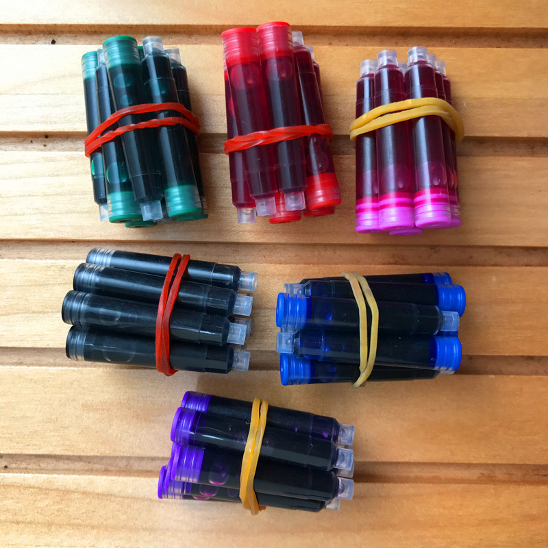 60 Pcs/Lot Disposable Color Fountain Pen Ink Cartridges Refills Universal Design Pen Refill