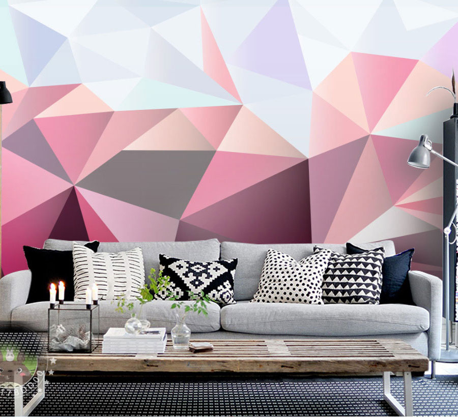 Colorful Triangle 3D Geometry Abstract Wallpaper Mural 3d Wall Photo Mural for Sofa Background 3d Wall paper 3d Wall Mural beibehang colorful circle tv background 3d flooring wall paper mural rolls photo wallpaper for wall 3 d hotel livingroom bedroom
