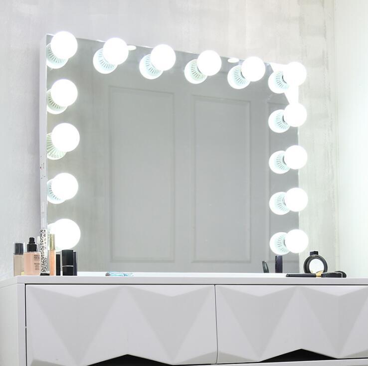 80*65 cm Plus Grande LED Maquillage Miroir Double couleur Lumière Miroir Cosmétique Make Up Miroir pour le cadeau