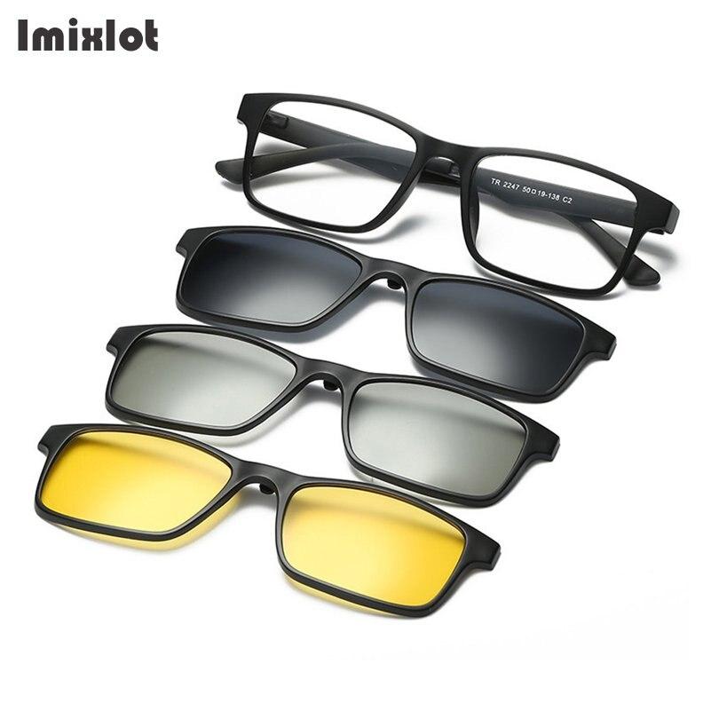 3D Polarisées Clip Sur des lunettes de Soleil Voiture de Vision Nocturne Lentille Lunettes de Soleil Pour Hommes Femmes Lunettes De Soleil Aimant Clip Avec Cadre Noir