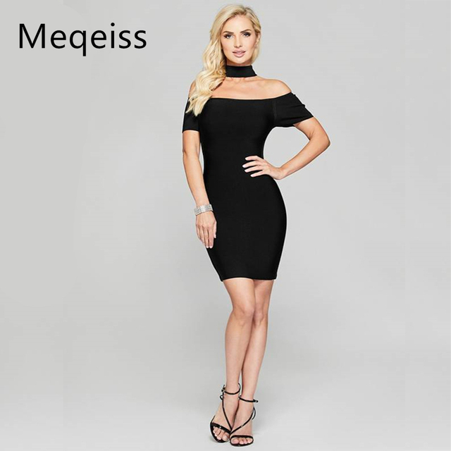 773537bbddfe2 MEQEIS Black Women Dress Choker Bodycon Mini Night Out Boat Neck Off the  Shoulder Short Sleeve Sexy Party Bandage Dresses