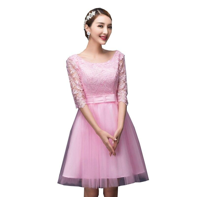 Rosa Corea vintage novias vestido hasta la rodilla dama de honor ...